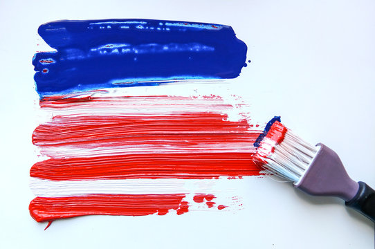 USA abstract grunge painted flag horizontal banner. Template for usa national holiday greeting card, invitation, poster, flyer