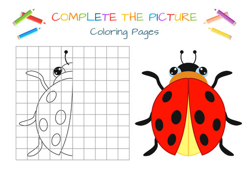 Funny little beetle. Copy the picture. Coloring book. Educational game for children. Cartoon vector illustration