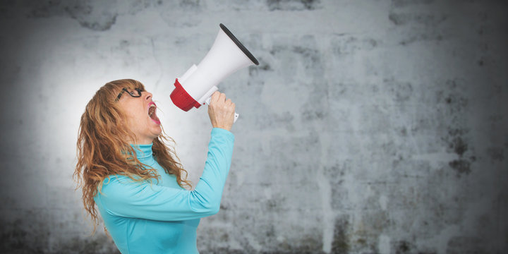portrait of adult woman with megaphone