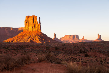 Buttes in The Monument Valley, Navajo Indian tribal reservation park