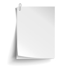 Two white sheets of paper with metal paper clip. Metal paper clip attached to paper. Vector illustration.