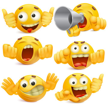 Funny yellow smiley face emoticon cartoon characters set