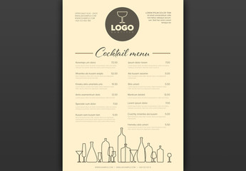 Minimalist Cocktail Menu Layout with Bottle Icons