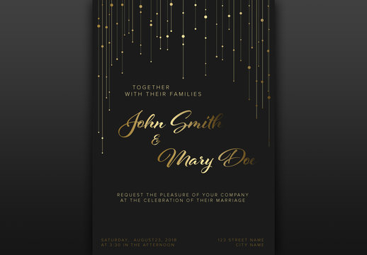 Black Wedding Invitation Layout with Gold Accents