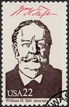 UNITED STATES OF AMERICA - 1986: shows Portrait of William Howard Taft (1857-1930), 27th president of the United States, series Presidents of USA