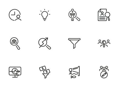 Business idea line icon set