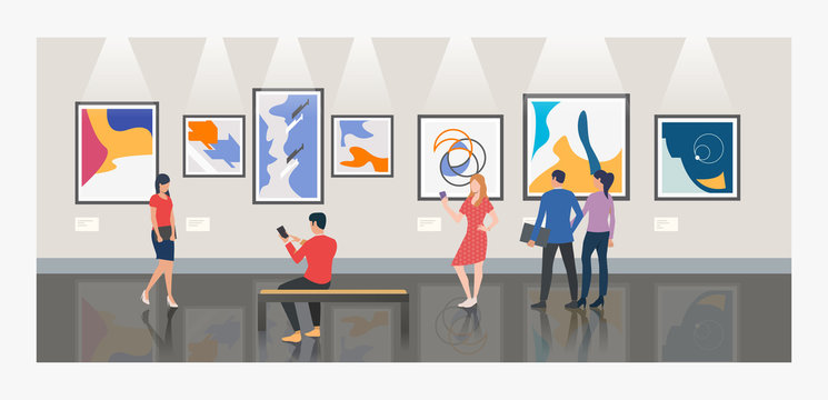 Men and women visiting museum or art gallery vector illustration
