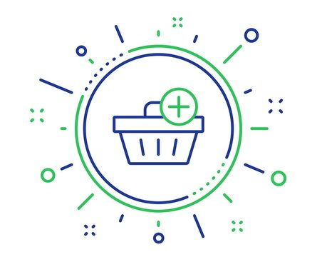 Add to Shopping cart line icon. Online buying sign. Supermarket basket symbol. Quality design elements. Technology add purchase button. Editable stroke. Vector