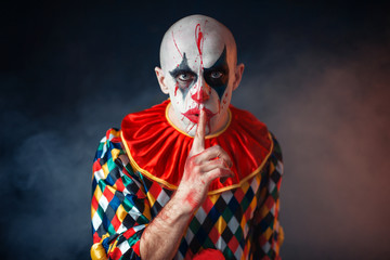 Portrait of mad bloody clown shows the quiet sign Wall mural