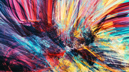 Bright artistic splashes. Abstract painting color texture. Modern futuristic pattern. Dynamic bright multicolor background. Fractal artwork for creative graphic design Wall mural