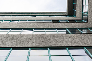 Concrete and glass office building frog's perspective