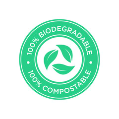 100% Biodegradable and compostable icon. Round and green symbol.