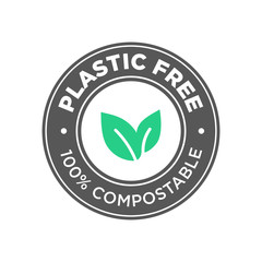 Plastic free. 100% Compostable icon. Round green and black symbol.