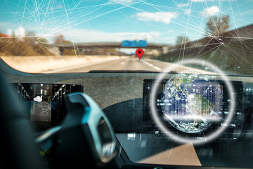 Global Positioning System - GPS - Navigation // Autonomes Fahren - self driving car  Wall mural
