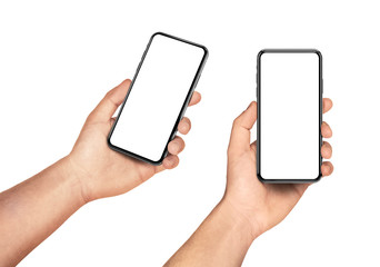 Hand holding smartphone with blank screen isolated on white angled and front view