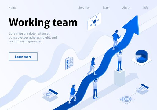 Working Team Isometric Banner Business Management