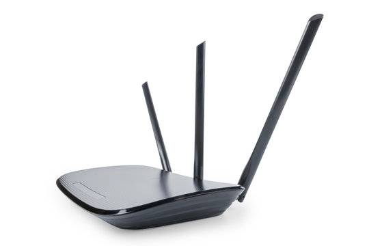 Black wifi router in wide angle perspective isolated with clipping path