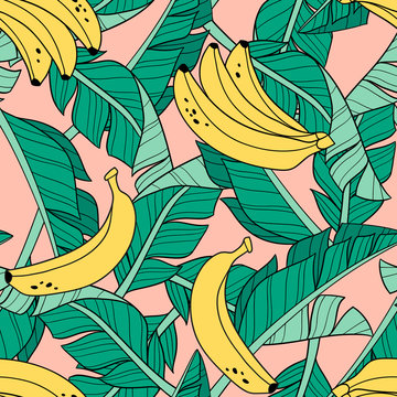 Hand drawn bananas and banana leaves. Seamless vector pattern on pink background. Perfect for fabric, wallpaper or wrapping paper.