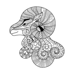 Aries zodiac sign. Zentangle coloring book page for adult.