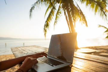 girl freelancer working on the sea at sunset with a computer