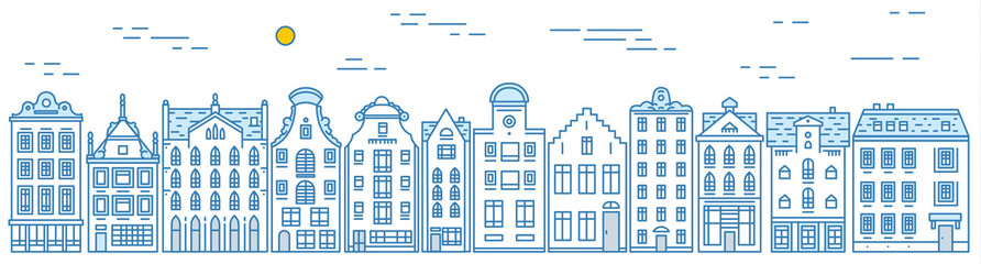 Europe house and apartments. Set of cute architecture in Amsterdam. Neighborhood with classic street and cozy homes. Building and facades for Banner or poster. Doodle sketch.