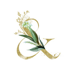 Wall Mural - Gold Floral Alphabet - ampersand & with botanic branch bouquet composition. Unique collection for wedding invites decoration & other concept ideas.