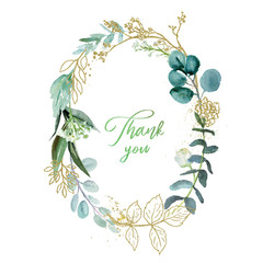 Wall Mural - Watercolor floral illustration with gold branches - leaf frame / wreath, for wedding stationary, greetings, wallpapers, fashion, background. Eucalyptus, olive, green leaves, etc.