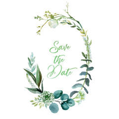 Wall Mural - Watercolor floral illustration - leaf frame / wreath, for wedding stationary, greetings, wallpapers, fashion, background. Eucalyptus, olive, green leaves, etc.