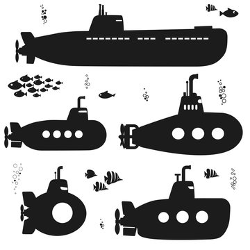 Silhouette Submarine undersea boat with fishes. Vector