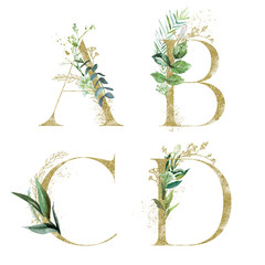 Wall Mural - Gold Floral Alphabet Set - letters A, B, C, D with green botanic branch bouquet composition. Unique collection for wedding invites decoration and many other concept ideas.