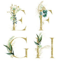 Wall Mural - Gold Floral Alphabet Set - letters E, F, G, H with green botanic branch bouquet composition. Unique collection for wedding invites decoration and many other concept ideas.