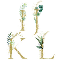 Wall Mural - Gold Floral Alphabet Set - letters I, J, K, L with green botanic branch bouquet composition. Unique collection for wedding invites decoration and many other concept ideas.