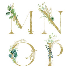 Wall Mural - Gold Floral Alphabet Set - letters M, N, O, P with green botanic branch bouquet composition. Unique collection for wedding invites decoration and many other concept ideas.