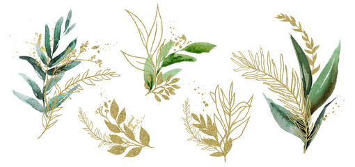 Watercolor floral illustration set - green & gold leaf branches, for wedding stationary, greetings, wallpapers, fashion, background. Eucalyptus, olive, green leaves, etc.