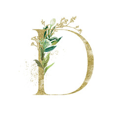Wall Mural - Gold Floral Alphabet - letter D with botanic branch bouquet composition. Unique collection for wedding invites decoration & other concept ideas.