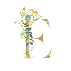 Wall Mural - Gold Floral Alphabet - letter E with botanic branch bouquet composition. Unique collection for wedding invites decoration & other concept ideas.