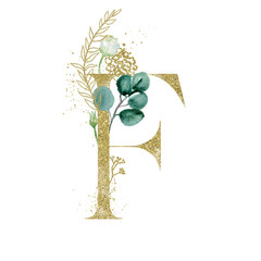 Wall Mural - Gold Floral Alphabet - letter F with botanic branch bouquet composition. Unique collection for wedding invites decoration & other concept ideas.