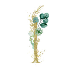 Wall Mural - Gold Floral Numbers - digit 1 with green botanic branch bouquet composition. Unique collection for wedding invites decoration, birthdays & other concept ideas.