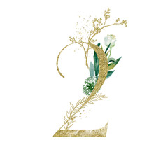 Wall Mural - Gold Floral Numbers - digit 2 with green botanic branch bouquet composition. Unique collection for wedding invites decoration, birthdays & other concept ideas.