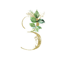 Wall Mural - Gold Floral Numbers - digit 3 with green botanic branch bouquet composition. Unique collection for wedding invites decoration, birthdays & other concept ideas.