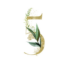 Wall Mural - Gold Floral Numbers - digit 5 with green botanic branch bouquet composition. Unique collection for wedding invites decoration, birthdays & other concept ideas.