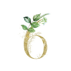 Wall Mural - Gold Floral Numbers - digit 6 with green botanic branch bouquet composition. Unique collection for wedding invites decoration, birthdays & other concept ideas.