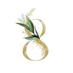Wall Mural - Gold Floral Numbers - digit 8 with green botanic branch bouquet composition. Unique collection for wedding invites decoration, birthdays & other concept ideas.