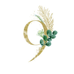 Wall Mural - Gold Floral Numbers - digit 9 with green botanic branch bouquet composition. Unique collection for wedding invites decoration, birthdays & other concept ideas.