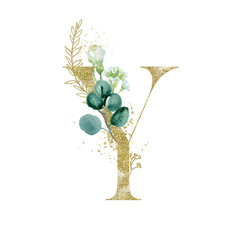 Wall Mural - Gold Floral Alphabet - letter Y with botanic branch bouquet composition. Unique collection for wedding invites decoration & other concept ideas.