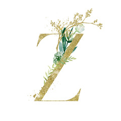 Wall Mural - Gold Floral Alphabet - letter Z with botanic branch bouquet composition. Unique collection for wedding invites decoration & other concept ideas.