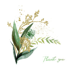 Wall Mural - Watercolor floral illustration bouquet - green & gold leaf branches collection, for wedding stationary, greetings, wallpapers, fashion, background. Eucalyptus, olive, green leaves, etc.