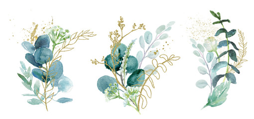 Watercolor floral illustration set - green & gold leaf branches collection, for wedding stationary, greetings, wallpapers, fashion, background. Eucalyptus, olive, green leaves, etc. Wall mural