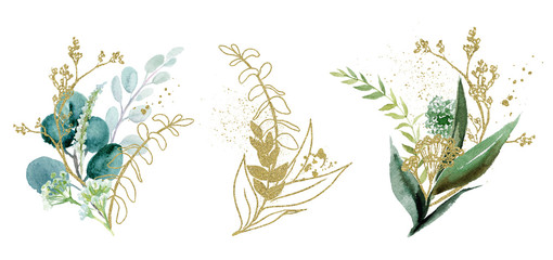 Wall Mural - Watercolor floral illustration set - green & gold leaf branches collection, for wedding stationary, greetings, wallpapers, fashion, background. Eucalyptus, olive, green leaves, etc.