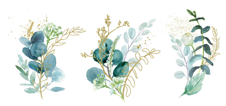Watercolor floral illustration set - green & gold leaf branches collection, for wedding stationary, greetings, wallpapers, fashion, background. Eucalyptus, olive, green leaves, etc.